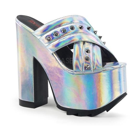 a2ae35d7834 NEW Pleaser Demonia Cramps Silver Hologram Heels